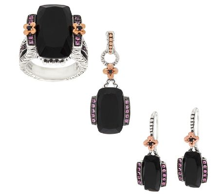 Barbara Bixby Onyx & Sapphire Ring, Earrings or Enhancer