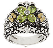 Barbara Bixby Sterling Silver & 18K Gold Gemstone Flower Ring - J52800