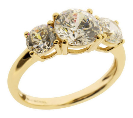 diamonique 3 50 ct tw 3 ring 14k gold qvc
