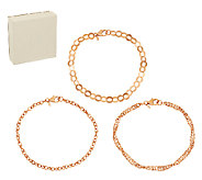 Bronze Set of 3 Polished Ankle Bracelets by Bronzo Italia - J281401