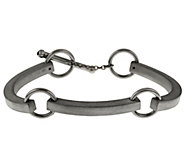 Italian Silver Sterling Satin Finish Status Station Bracelet - J284301