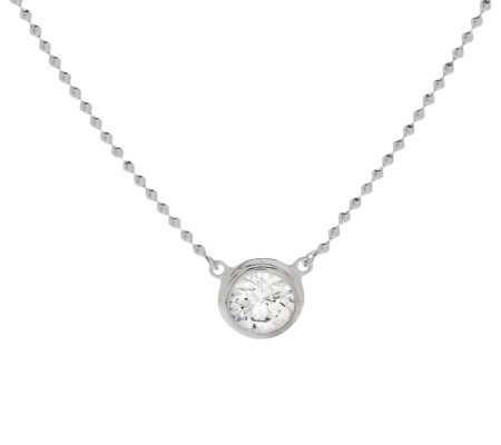 Epiphany Diamonique Round Solitaire Bezel Set Necklace