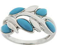Sleeping Beauty Turquoise Leaf Design Sterling Ring - J288901