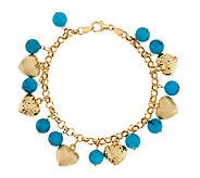 Vicenza Gold 7-1/4 Bold Turquoise & Heart Charm Bracelet, 14K - J289301