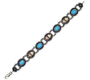 "Product image of Black Hills 7"" Sterling Sleeping Beauty Turquoise Line Bracelet, 12K"