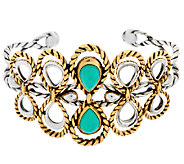 Sterling/Brass Turquoise Swirl & Rope Design Cuff by American West - J296301