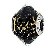 Prerogatives Black Spots/Gold Back Italian Murano Glass Bead - J300201