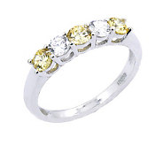 Diamonique & Simulated Canary 5 Stone Ring, Platinum Clad - J302401