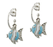 Mixers Sterling Enamel Fish Charm Hoop Earrings - J304701