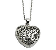 Stainless Steel Filigree Heart Pendant with 21-1/2L Chain - J306801