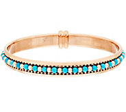 As Is Bronzo Italia Turquoise & Polished Bead Inlay Bangle - J319601