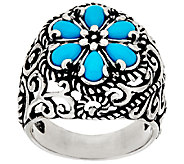 Carolyn Pollack Sleeping Beauty Turquoise Cluster Design Signature Ring - J320101