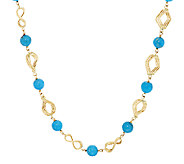As Is VicenzaGold 18 Turquoise & Diamond Cut Link Necklace - J320201