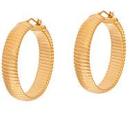 Oro Nuovo 1-1/2 Ribbed Round Hoop Earrings 14K - J321201
