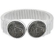 Judith Ripka Sterling Verona Coin Tubogas Cuff Bracelet - J323901