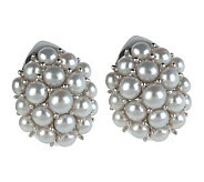 As Is Honora Cultured Pearl Sterling Button Cluster Earrings - J324801