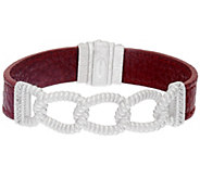 Judith Ripka Sterling Verona Curb Link Merlot Leather Bracelet - J325001