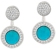 Vicenza Silver Sterling Crystal Stud w/Turquoise Earring Jackets - J325801