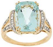 As Is Premier 6.00ct Aquamarine & Diamond Ring 14K Gold - J327001