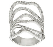 As Is Italian Silver Sterling Wide Free-Form Crystal Ring - J327301