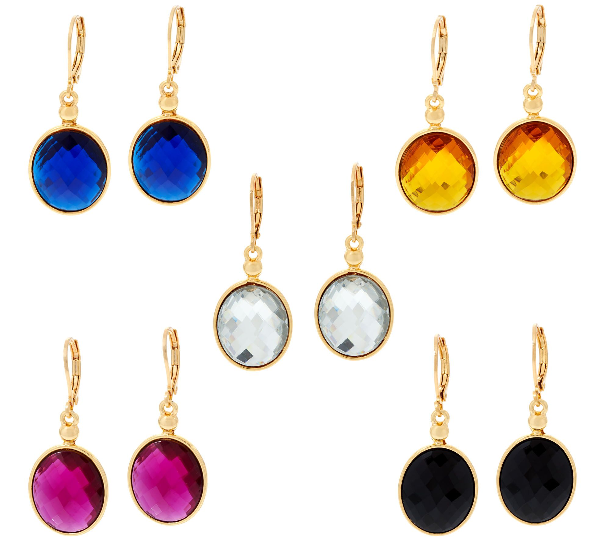 Joan rivers set of 5 faceted oval earrings for Joan rivers jewelry necklaces