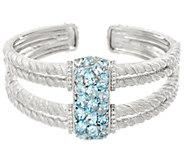 Judith Ripka Sterling 7.80 cttw Blue Topaz Cluster Cuff Bracelet - J327901
