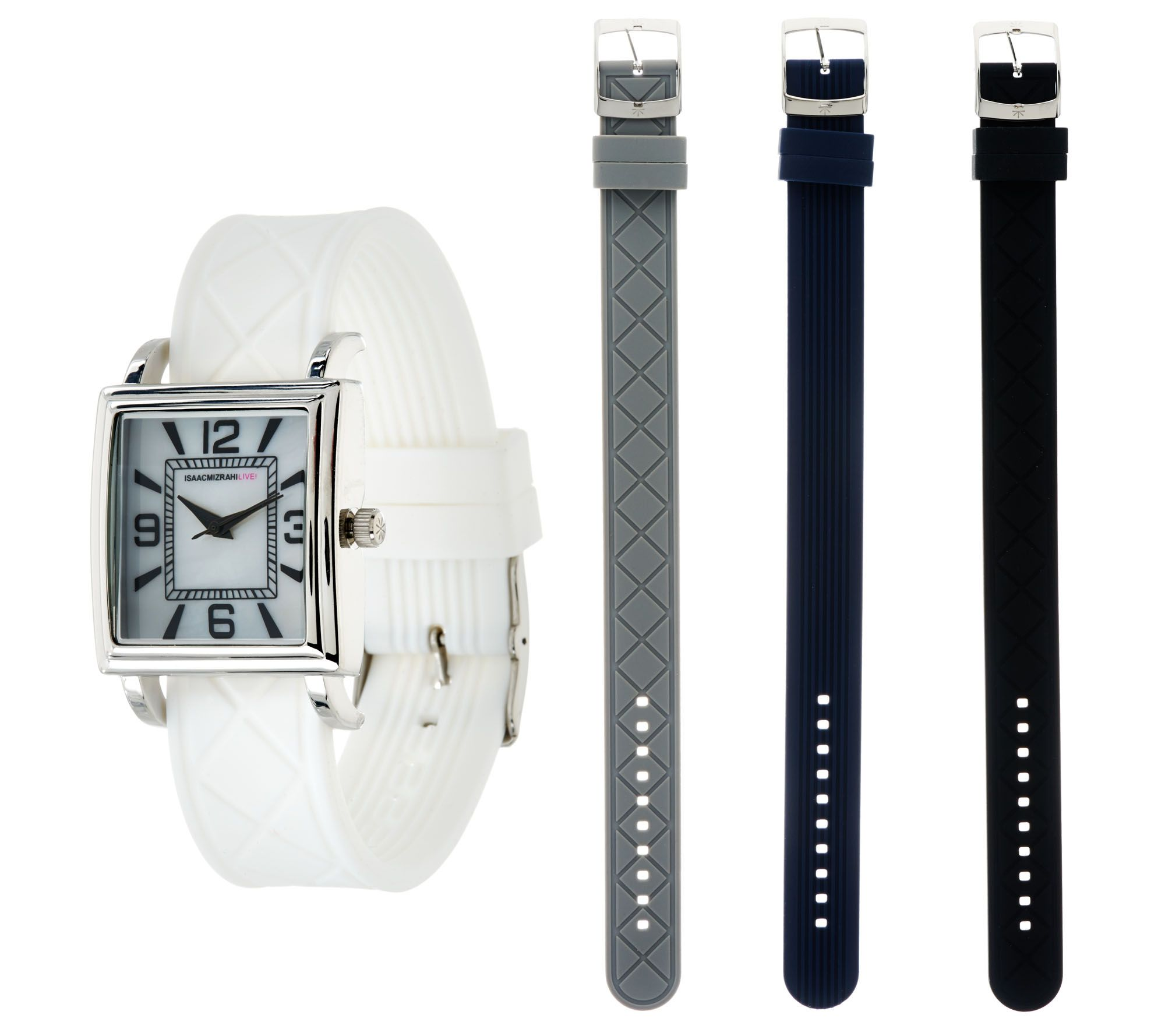 Isaac Mizrahi Live! Interchangeable Silicone Strap Watch ...
