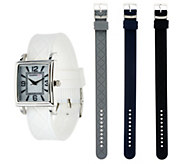 Isaac Mizrahi Live! Interchangeable Silicone Strap Watch - J328601
