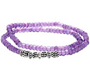 Luv Tia Sterling & 60.0ct Amethyst Stretch Bracelet - J330201