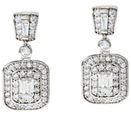 TOVA Diamonique Emerald Cut Dangle Earrings Sterling - J330801