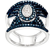 Blue & White Pave Diamond Ring, Sterling, 3/4 cttw, by Affinity - J331101