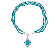 American West Kingman Turquoise Enhancer w/ 20Bead Necklace - J336501