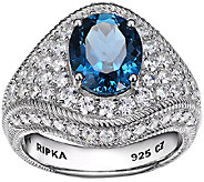 Judith Ripka Sterling London Blue Topaz & Diamonique Ring - J338501
