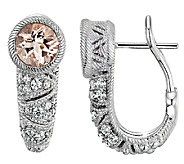 Judith Ripka Sterling Morganite & Diamonique Ea rrings - J340001