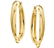 Satin and Polished Oval Hoop Earrings, 14K Gold - J340401