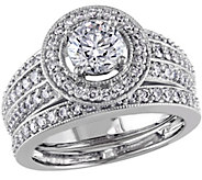 Round Halo Diamond Ring Set, 1.45cttw, 14K Gold, by Affinity - J340901