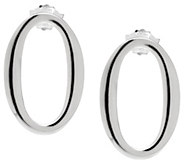 UltraFine Silver Polished Oval Drop Earrings - J341701