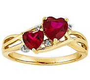 Double Heart Ruby and Diamond Accent Ring, 14K - J342201