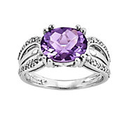 Sterling 2.00 ct Amethyst and 1/10 cttw Diamond Ring - J342401