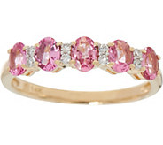 Oval Pink Spinel & Diamond 5-Stone Band Ring, 0.70 cttw - J346801