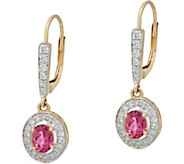Oval Pink Tourmaline & Pave Diamond Drop Earrings, 14K, 0.60 cttw - J348501