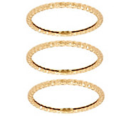 14K Gold Diamond Cut Set of 3 Band Rings - J348901