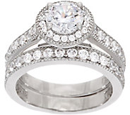Diamonique Two Piece Halo Ring Set, Platinum Clad - J353401