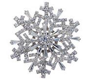 Diamonique Spinning Snowflake Pin Pendant, Sterling - J353601