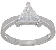 Diamonique Trillion-Cut Ring, Sterling Silver or 14K Clad - J354701