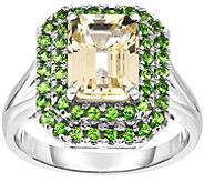 Sterling 3.50 cttw Hiddenite & Chrome Diopside Ring - J375201