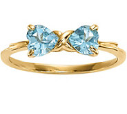 14K Gold Heart Gemstone Bow Ring - J375301