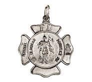 Sterling Saint Florian Fireman Badge Medal - J108302
