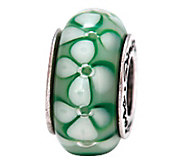 Prerogatives Sterling Green Floral Glass Bead - J108802