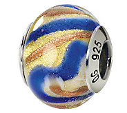 Prerogatives Sterling Gold & Blue Italian Murano Glass Bead - J111802